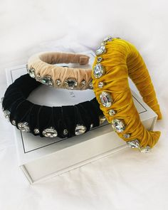 Sparkly oversized crystals of all shapes are wrapped in plush velvet, and join together to create the ultimate holiday hair accessory. Available in 2 different sizes. Crystal Headband, Pearl Headband, Knot Headband, Headbands, Yellow Home Accessories, Yellow Jewelry, Head Accessories, Holiday Hairstyles, Bandana Hairstyles