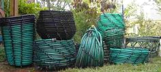Baskets made from recycled garden hoses. Gloucestershire Resource Centre http://www.grcltd.org/scrapstore/