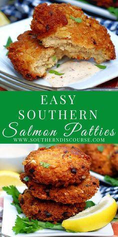 Canned Salmon Patties, Best Salmon Patties, Southern Salmon Patties, Fried Salmon Patties, Canned Salmon Recipes, Salmon Patties Recipe, Fish Recipes, Seafood Recipes, Healthy Salmon Patties