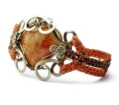 Sunstone Wire Wrap and Macrame Bracelet by Hyppiechic on Etsy, $57.00