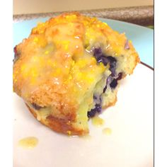 Blueberry muffin with orange zest glaze, yummy breakfast