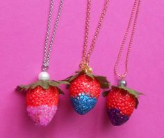 Necklaces strawberry dip www.intoaccessories.nl