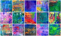 Abstract painting inspired by Gerard Richter- step by step on how to teach abstract painting