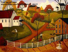 """Fun Autumn Day"" raking leaves landscape folk art painting Fall country"