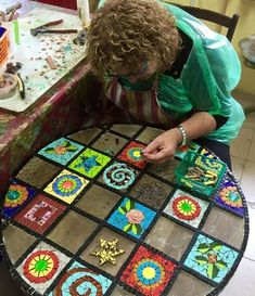 """Mosaic Art Diverse City Series piece by ringmosaics on EtsyHouse mosaics on stairs create streets!""""Around the Town"""" - as I call it - mosaic - Salvabrani Mosaic Flower Pots, Mosaic Pots, Mosaic Diy, Mosaic Crafts, Mosaic Projects, Mosaic Glass, Glass Art, Mosaic Table Tops, Mosaic Artwork"""
