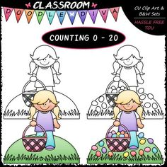(0-20) Counting Easter Eggs - Classroom Doodle Diva Clip Art & B&W Set This set comes with 21 clip art and 21 black and white images (black lines with a white fill) and includes: 21 scenes with a girl holding an Easter basket with (0-20) Easter eggs in the basket or scattered in the grass. All images are high quality 300 dpi in transparent PNG and non-transparent JPG formats. Original designs by Classroom Doodle Diva (some designer resources have been used in the creation of my designs).