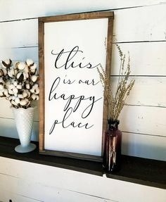This is our happy place Farmhouse Style Sign #Farmhouse #Rustic #BetheLight #Cottage #FixerUpper #Ad #Sign #WoodenSign #HomeDecor #WallArt #Decor #FarmhouseDecor #Marriage #Wedding #WeddingGift #Love #HappyPlace