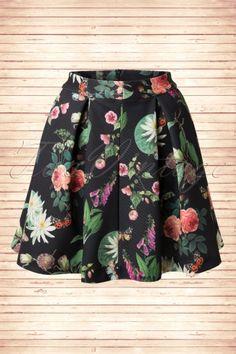Yumi 60s Botanical Floral Black Skirt  122 14 14234 20150211 0007W