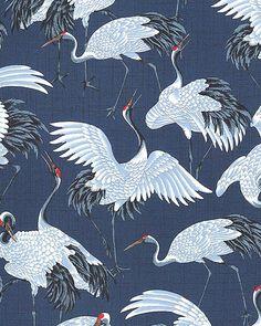 NOBU FUJIYAMA - Crane Dynasty - Cranes: Indigo (1/2 Yd.)