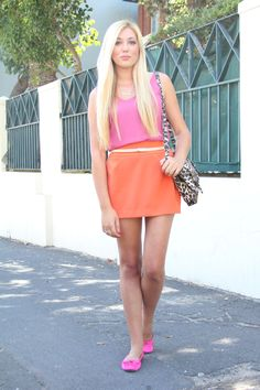 Color block orange skirt - pink Tank Top