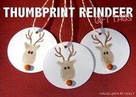 (Think Christmas) DIY thumbprint reindeer ornaments
