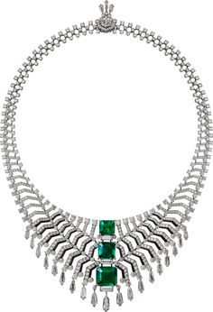 "CARTIER. ""Oracle"" Necklace - platinum, three modified octagonal step-cut…"