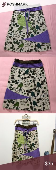 Whimsical bird cotton skirt *unique* Size ladies S (4/6) by Luna Claire • Cotton • Gently worn w/ no flaws! • Adorable bird print with brown, purple colorblocks. Drawstring waist without elastic • Any questions, ask away! boutique Skirts Midi