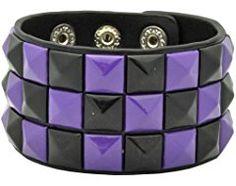Purple/Black Checkered Studded Black Leather Bracelet