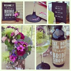 Wine themed Bridal Shower, screen printed chalk boards. Design by Stella Bella Invites