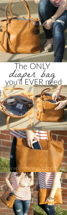 The ONLY diaper bag you'll EVER need! This Boss Bag is 3 bags in one: a gorgeous faux leather diaper bag tote, a stylish tan crossbody, and a quick and easy clutch for mom's stuff, too! It's great for multiple kids and toddlers as well as just a go-to when you're out of that season of motherhood and want a trendy handbag! Even better this brand donates one meal for every product sold making it an amazing company that gives back! Love this bag and being a stylish mama! #ad