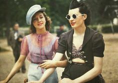 vintage everyday: Rare Color Photos of Parisian Women from between 1930s and 1940s street style fashion day wear casual playsuit pants play suit