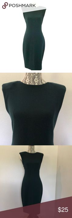 Zara - Deep Green stretch knit dress Zara Deep Green Stretch Knit Dress - this dress is so simple - the fit of this dress is amazing.  The lightweight knit fabric hugs your body in all the right places.  The dress is a bit retro with the sewn in shoulder pads.  The dress is made of polyester and is unlined, the zipper is invisible.  The lack of adornment of this dress makes it the perfect palette to add great accessories, it works for a day at the office or an evening out. Zara Dresses Midi
