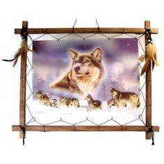Seven Wolves - 3D Picture; The photos of these 3D holographic pictures really do not capture how stunning they are, each picture is strung inside a wooden frame that is decorated with Dreamcatcher style beads and feathers.