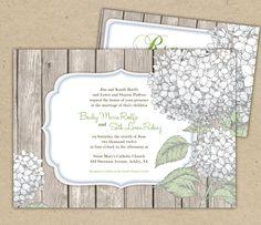 Rustic Wedding Invitation and RSVP. Hydrangea and wood. shabby chic. $275.00, via Etsy.