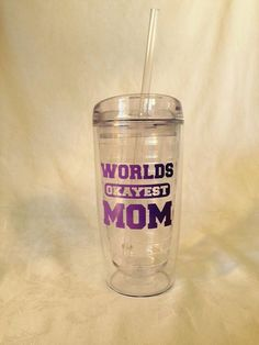 Worlds Okayest Mom travel mug tumbler  by TheLittleSparkleShop