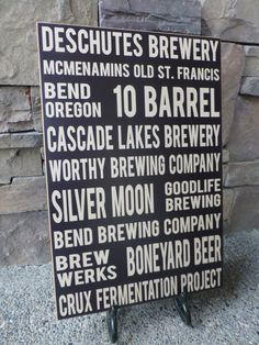 """Breweries Bend Oregon Wall Sign by LilBeansLove on Etsy, $39.00  Long after the cold beer is gone, this sign will display your favorite Brewery. Solid Wood Wall Signs  12""""x18"""" $39.00  Lightly distressed edges showcase the beautiful deep brown color.  Sawtooth hanger makes this wall sign ready to hang in any room with any decor."""