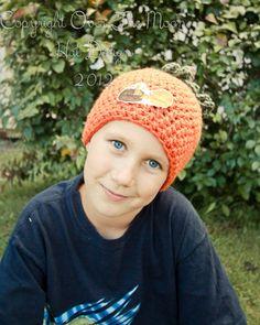 Little pumpkin patch hat. $25.00, via Etsy.  Shop- Over The Moon Hat Design