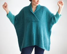 Blue Mohair Hand Knitted Poncho Plus Size