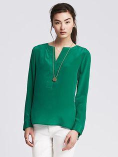 Pintuck Silk Tunic
