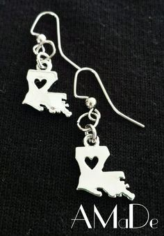 Silver Louisiana State charm earrings from AMaDe www.Facebook.com/amadeaccessories