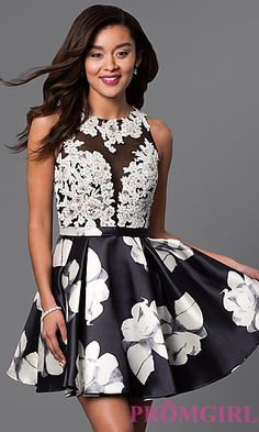 Can we please wear this dress to homecoming 2016? Open back short print homecoming dress will leave an everlasting impression.