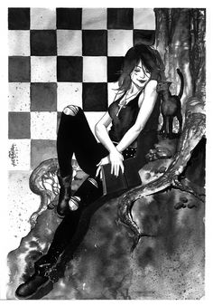 Death Sandman ink wash commission sample - Jack Herbert Comic Art