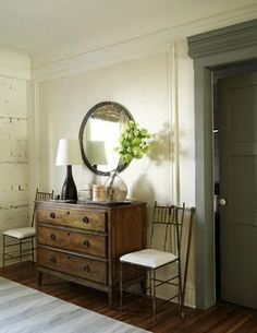 like the round mirror with this dressor.. idea for my old dressor