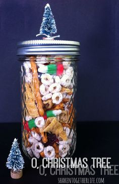 Oh Christmas Tree Munch Mix in a mason jar - gift idea and recipe at shakentogetherlife.com