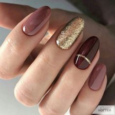 burgundy Acrylic short oval nails design for summer nails, Cute natural oval nails for spring nails, Gel oval nails design acrylic Fall Nail Designs, Acrylic Nail Designs, Acrylic Nails, Gel Nails, Nailart Gel, Christmas Nail Art Designs, Nail Nail, Minimalist Nails, Autumn Nails