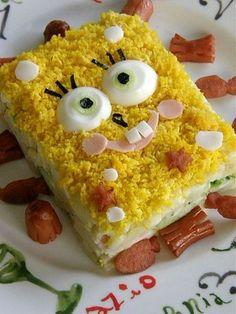 Kids Meal Idea: Mashed Potato Sponge Bob Cake