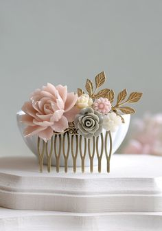 Powder Pink Grey Ivory Flower Hair Comb Dusty Pink Rose by LeChaim