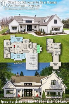 House Plan 14661RK gives you 2,500+ square feet of living space with 4 bedrooms and 3.5 baths. AD House Plan #14661RK #adhouseplans #architecturaldesigns #houseplans #homeplans #floorplans #homeplan #floorplan #houseplan Best Home Plans, Custom Home Plans, Modern House Plans, House Floor Plans, Farmhouse Plans, Modern Farmhouse, Building Plans, Building A House, Beautiful Home Designs