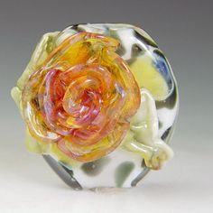 Leopard Rose 1  lampwork bead borosilicate/boro by redsidedesigns, $30.00