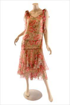 Vintage 1920's Silk Floral Chiffon Dress - Handkerchief Hem