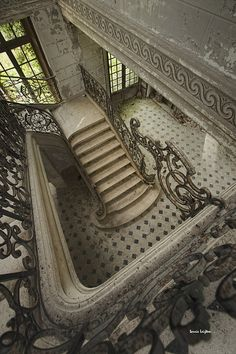 Abandoned Chateau des Singes - France.  I like the pattern in the molding in the upper right of the pic.