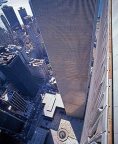 World Trade Center twin towers, pre 9/11.  Looking down from atop of the north tower.