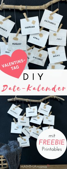 DIY zum Valentinstag mit Freebie! ° Date-Kalender selber machen ° Ein persönliches Geschenk für den Mann – HAMMAmama – Frau ° Kreativkopf ° Mutter