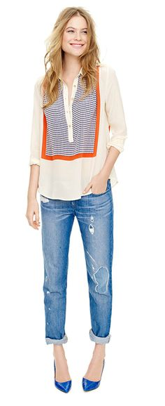 blouse + jeans @jcrew