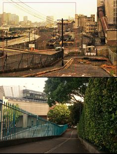 Mill St, Pyrmont looking S_1981 with power station (source unknown but possibly City of Sydney) vs Jan 2016 with Star Casino (Pyrmonstrosity)