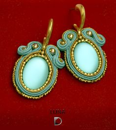 Earrings with cabochon Lunasoft of Soutache. Author Diana Kalinkina, Kiyv www.facebook.com/KalinkinaStyle  #DianaKalinkina, #soutache, #lunasoft, #earrings