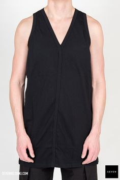 Woven top JT 09 BLACK Cotton Rick Owens - Walrus - Made in Italy Model is wearing size L. Rick Owens, Athletic Tank Tops, Tank Man, Rompers, Model, Mens Tops, How To Wear, Cotton, Clothes