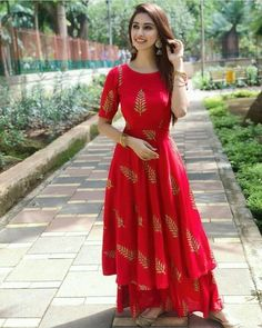 Red anarkali kurti and palazzo now in store best color and outfits. Party Wear Indian Dresses, Designer Party Wear Dresses, Pakistani Dresses Casual, Indian Bridal Outfits, Indian Gowns Dresses, Dress Indian Style, Kurti Designs Party Wear, Indian Designer Outfits, New Kurti Designs