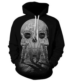 HighFS Unisex Pullover 3d Space Skeleton Printed Hooded Sweatshirts Hoody >>> Click on the image for additional details.