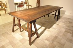 trestle desk Trestle Tables, Dining Table, Work Stations, Desks, Pallets, Storage Ideas, Tiny House, Healthy Eating, Container